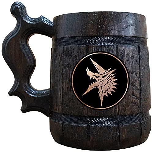 Monster Hunter Zinogre Wooden Beer Mug, MHW Beer Stein, Gamer Gift, Personalized Beer Stein, Monster Hunter World Tankard, Custom Gift for Men, Gift for Him