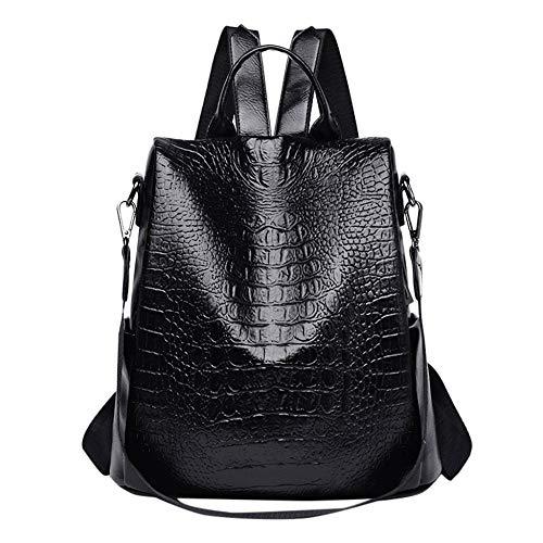 Backpack Bag Backpack Women Leather Crocodile Pattern Backpack Korean Fashion Leather Bag Simple Shoulder Bag Black