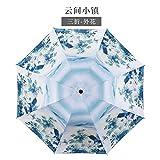 JIANG Chine Vent et Pluie Parapluie Double Usage en Plastique Noir Parasol Soleil Parasol Pliant Encre Ancien Art Cadeau à l'intérieur d'encre de Fleur orchidée, en Dehors de la Ville de Nuage