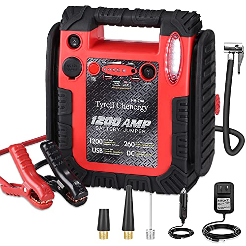 1200 Amp Jump Starter with Air Compressor, acetek Car Battery Charger 260 PSI Tire Inflator, 20000mAh 12V Auto Lead-Acid Battery Booster (Up to 6L Gas or 6L Diesel Engine) with LED Light & USB Ports