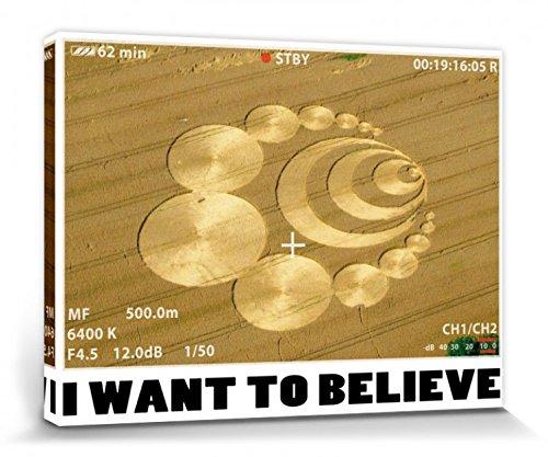 1art1 Kornkreise - I Want to Believe Bilder Leinwand-Bild Auf Keilrahmen   XXL-Wandbild Poster Kunstdruck Als Leinwandbild 40 x 30 cm