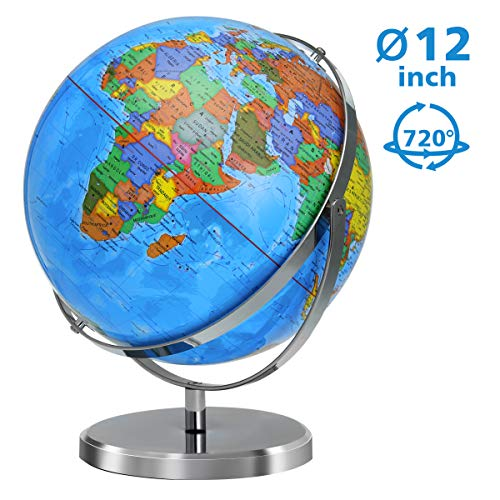 World Globe 12 Inch Diameter Globe for Kids 720 Degree Rotation with Steel Stand Over 4000 Locations, KingSo Adult Desktop Geographic Globes Educational Gift Toys Perfect Decoration for Home Office