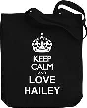 Teeburon Keep calm and love Hailey Canvas Tote Bag 10.5