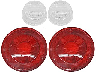 (2) 67-72 Chevy/GMC Truck Stepside Rear Red Tail Light & Reverse Back-Up Lenses