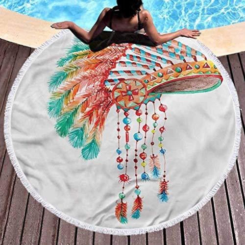 Wild At One Premium Toalla de playa redonda americana de picnic Tribe Chief toalla de playa de microfibra para viajes (diámetro 59 pulgadas)