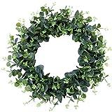 Ghirlanda natalizia con corona di eucalipto artificiale, da appendere alla porta, decorazione per feste di nozze