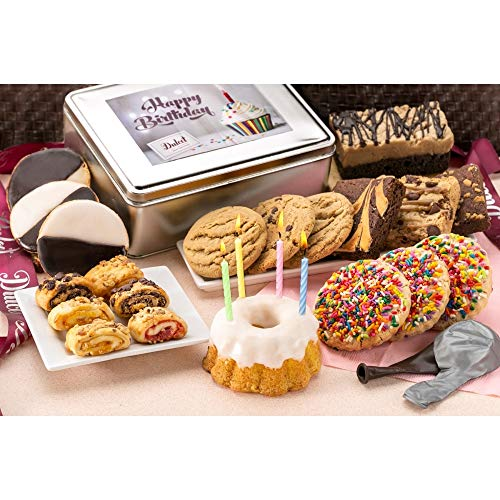 Dulcet Gift Basket Happy Birthday Party Gift Package in Tin with Balloons, Candles -Bithday Cake Great Gift for Men, Women, Him, Her, Mom, Dad, Friends & Family