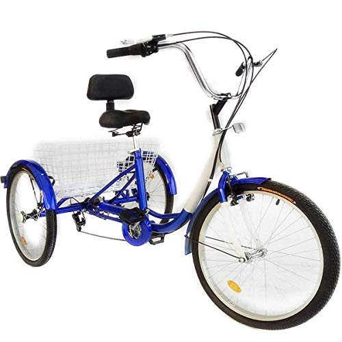 Happybuy 24 Inch Adult Tricycle Series 7 Speed 3 Wheel Bike Adult Tricycle Trike Cruise Bike Large...