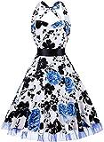 oten Women's Vintage Polka Dot Halter Dress 1950s Floral Sping Retro Rockabilly Cocktail Swing Tea Dresses (Apparel)