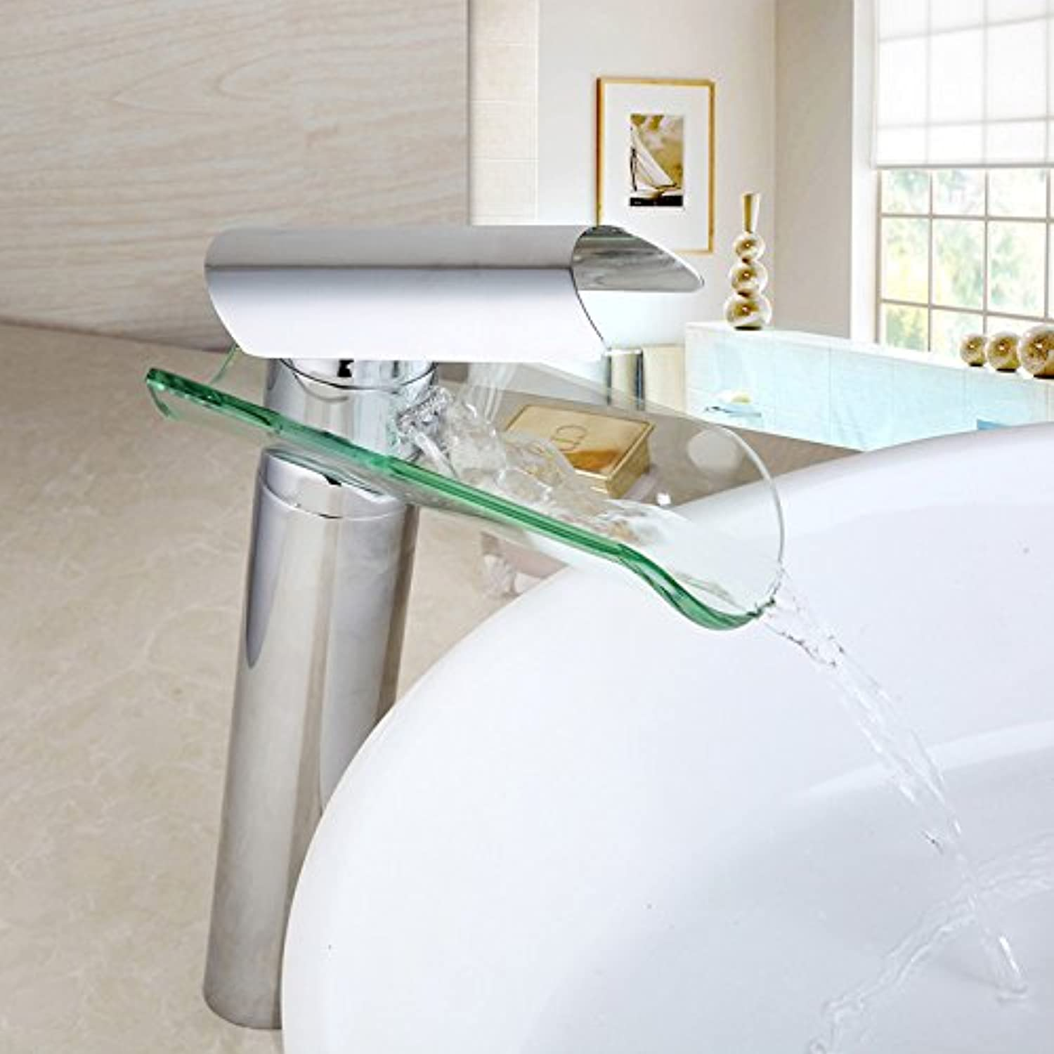 Retro Deluxe FaucetingFree Shipping Modern Chrome Finished&Nickel Brushed&Antique Brass Waterfall Bathroom Glass Faucet Basin Sink Faucets Tap Mixer,6