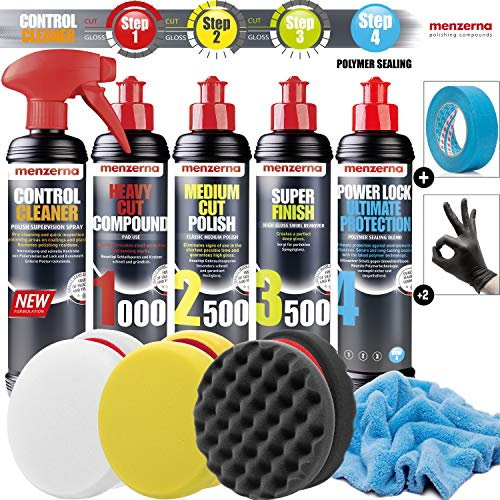 Detailmate Auto Politur Set - Menzerna Autopolitur 250ml: Super Heavy Cut 1000 + Medium Cut 2500 + Super Finish 3500 + Power Lock Ultimate Protection + 3x Menzerna Pad + Poliertuch + 3M Scotch Band