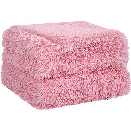 PiccoCasa Kuscheldecke Doppelseitige Langhaar Decke Kunstfell Sherpa Decke Tagesdecke Sehr weich als Bettüberwurf Bettdecke Sofadecke für Doppelbett Sofa usw. Rosa 230x230 cm