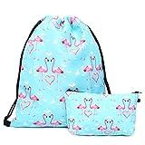 HELLATHUND Fashion Schule Rucksack Weiblichen Beutel für Mädchen Beuteltasche Hipster Tasche Rucksack Turnbeutel mit Kosmetiktasche 2er/Pack (Flamingo)