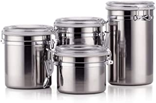 4-Piece 5in Airtight Canister Set Stainless Steel, Food Storage Container with Lids for Tea,Coffee,Snacks, Milk Powder,Beans Canisters.Flour Canister with Clear Acrylic Lid n' Locking