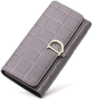 Pusaman Women's D Buckle Leather Wallet, Fashion Clutch, Evening Bag Wild (Color : Gray, Size : 19 * 10 * 2CM)