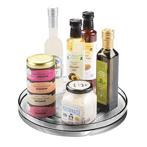 mDesign Especiero Giratorio para Cocina – Elegante Estante para Especias, condimentos, Ingredientes de Hornear o conservas – Bandeja giratoria Redonda para aparador o armarios de Cocina – Gris Claro