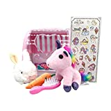 THands Unicorn Plush Toys Play Sets - Cute Soft Unicorn Plush Stuffed Animal Toys for Girls with Rabbit,Unicorn Stickers, Comb,Unicorns Surprise Gifts for Girls Toddlers
