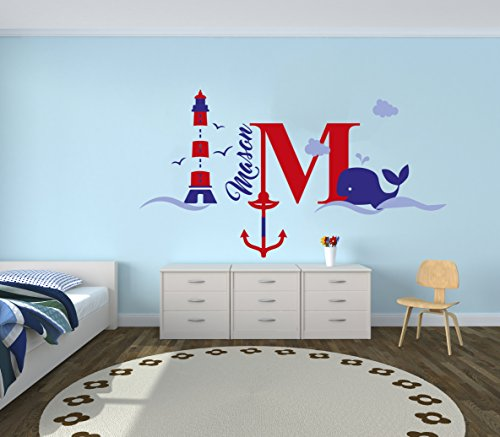 Custom Name & Initial Blue Red Anchor Whale Lighthouse - Nautical Series - Baby Boy Girl Decoration - Mural Wall Decal Sticker For Home Interior Decoration Car Laptop (M520) (Wide 24' x 13' Height)