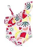 kavkas Baby Girl Swimsuit Cute One Piece Bathing Suit with Sun Protection Ruffles Swimwear, 9M
