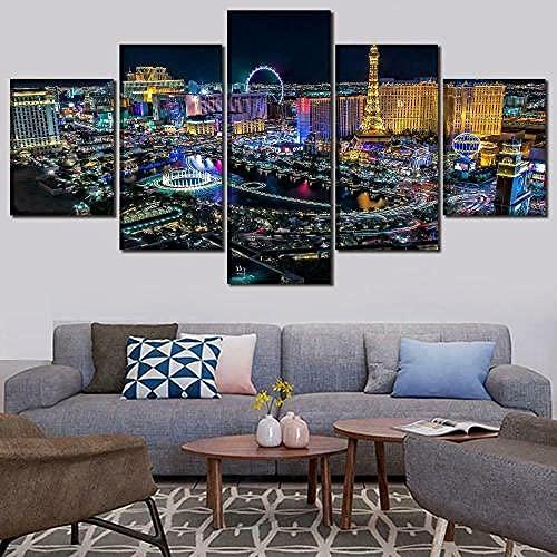 COCOCI Lienzo 5 Piezas Las Vegas Nevada Night Skyline Lienzos Decorativos Cuadros Grandes Baratos Cuadros Decoracion Cuadros para Dormitorios Modernos Cuadros Decoracion Regalos Personalizados