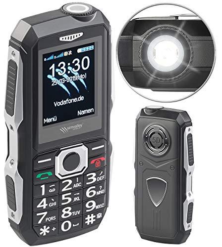 Simvalley Mobile Teléfono móvil del Sitio de construcción: Teléfono Celular al Aire Libre a Prueba de Golpes, Función Dual SIM, Bluetooth, Radio FM, IP67 (teléfono)