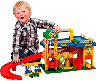 Wader No. 1 Parking Garage Play Set, Cars Included, Red, Yellow, Blue, Green