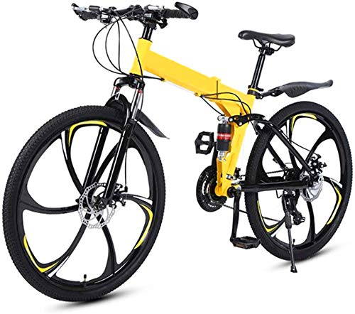 RDJM Ebikes Mens Mountain Bike 26 Inches Folding Mountain Bicycle, 27 Speed Bicycle Full Suspension MTB Bikes Sports Male And Female Adult Commuter Anti-Slip Bicycles