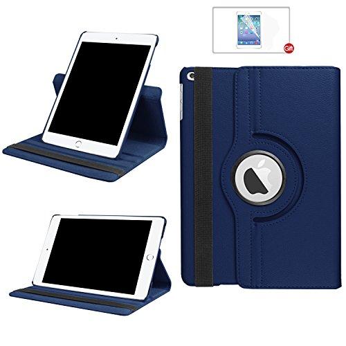 ARECY - Funda de piel sintética con función atril para iPad (rotación de 360º) azul azul oscuro iPad 10.2 iPad 7.Generation(2019)