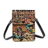 IUBBKI Life by Big Toe Pirate Mermaid Ti-Ki Bar Piccola borsa a tracolla per telefono da donna, borsa a tracolla per cellulare Porta carte di credito Portafoglio
