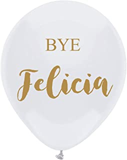 MAGJUCHE White Bye Felicia Balloons, 16 pcs Gold Going Away, Divorce, Funny Job Change Party Decorations
