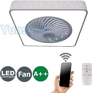Ventilador de Techo con Lámpara, 36W Creativo Ventilador Invisible LED Lámpara de Techo Control Remoto Regulable Ultra Silencioso Lata Tiempo Ventilador Lámpara Φ55 * H18cm