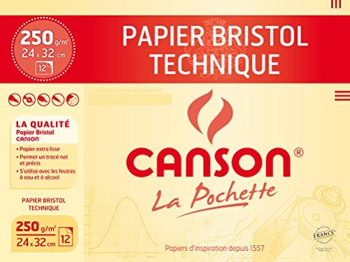 Canson Technique Papier à dessin 24 x 32 cm 12 feuilles Très Blanc