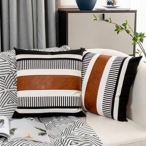 Vfuty Pack of 2 Farmhouse Throw Pillow Covers for Couch Sofa Decorative Faux Leather Square Cushion Cover Tribal Stripe Accent Pillow Case 18 x 18 Inch,Black