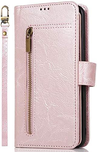 Felfy [9 Kartenfächer] Kompatibel mit Galaxy A7 2018 Hülle,Kompatibel mit Galaxy A7 2018 Handyhülle PU Leder Reißverschluss Multifunktions Brieftasche Lederhülle Flip Cover Case Tasche (Rose Gold)