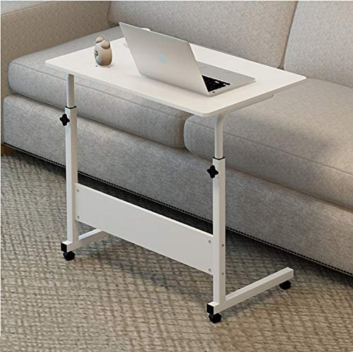 Lzet Mesa auxiliar portátil portátil de altura ajustable, mesita de noche, mesa de sofá, color marrón