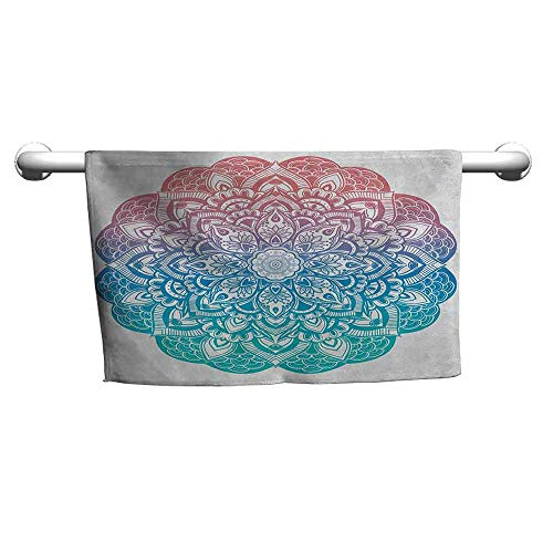 zojihouse Boho Gypsy in Pastel Colors Mystic Floral Meditation Symbol Hooded Towel for Kids Dried Rose Blue and Turquoise W14xL28