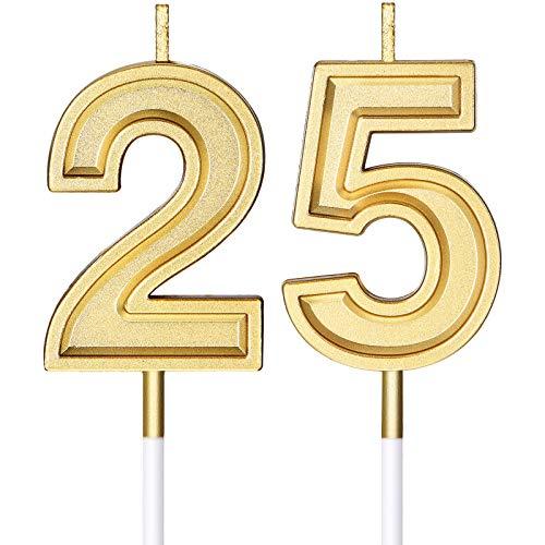 Velas de Cumpleaños de 25 Años Velas de Números Velas de Tarta...