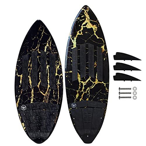 "South Bay Board Co. - 52"" / 54"" / 63"" Wakesurf Board - Performance Wake Surfboards for Kids & Adults - Durable Compressed Fiberglassed Wake Surf Board (Black/Gold Marble, 52"" Rambler)"