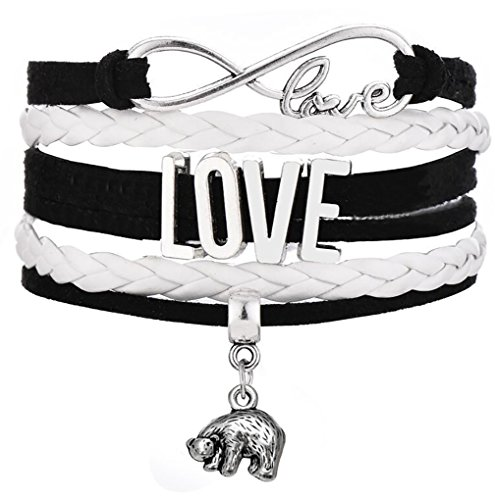 Legemeton Infinity Love Hand Made Multi-Layer Woven Bracelets With Polar Bear Charm Hand Made Multi-Layer Woven Bracelets (Black)