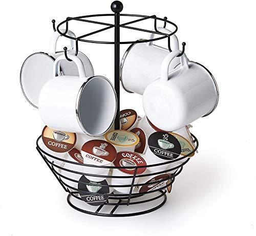 NiftyCoffee Pod amp Mug Carousel – Holds 4 Cups Capsule Storage Spins 360DegreesLazy SusanPlatformModernBlackSteelHomeorOfficeKitchen Counter Organizer