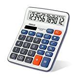Calculator, Large LCD Display Button 12 Digits Desktop Handheld Calculator with Solar Power (OS-6M)