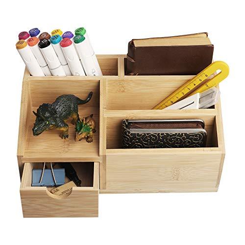 OKPOW Schreibtisch-Organizer aus Bambus, Schreibtisch-Organizer für Stifte, Handys und Fernbedienungen, ein Muss für Studenten und Büroangestellte, 5 Ablagefächer