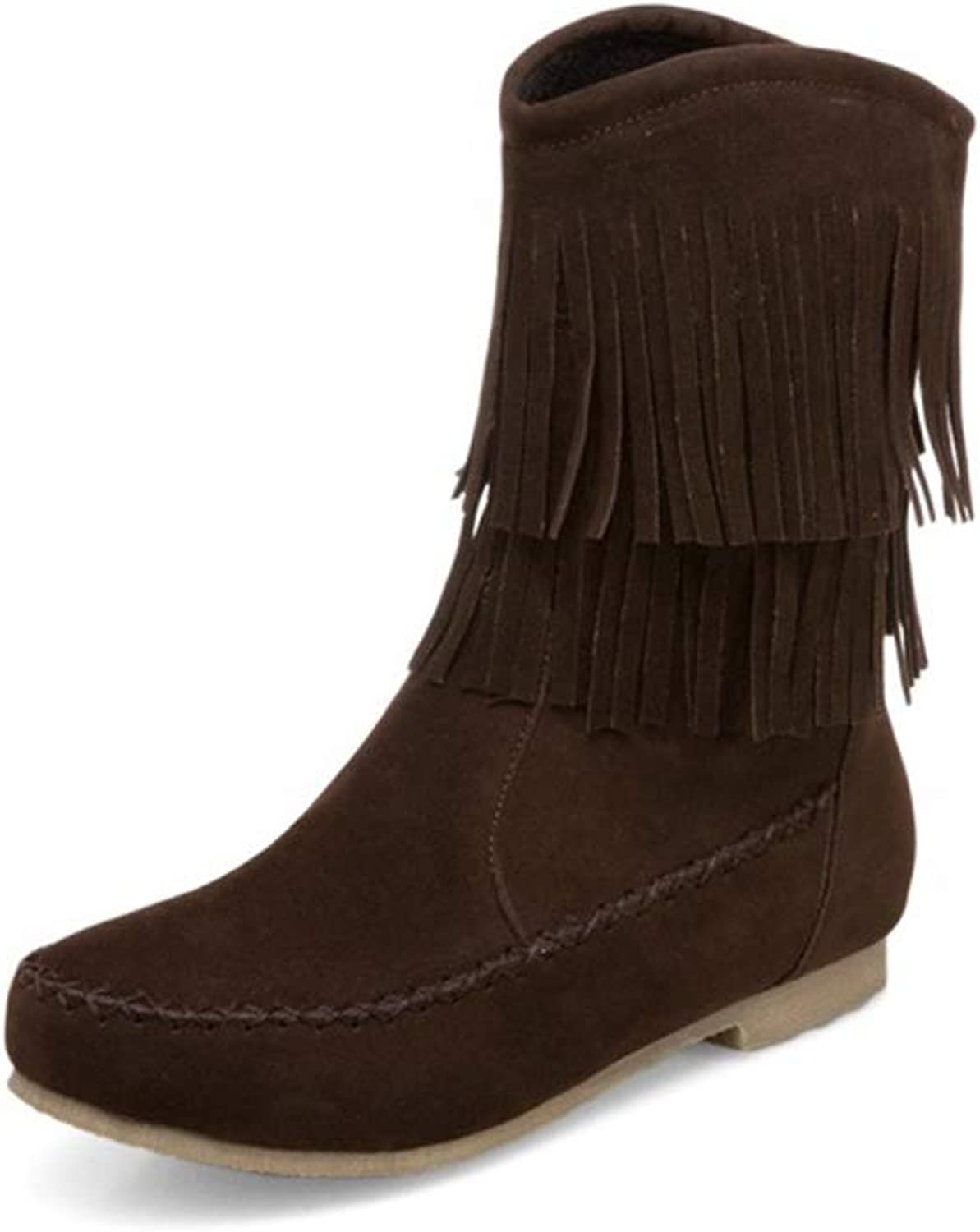 Jim Hugh Womens Mid Boots shoes Women Round Toe Low Square Heel Slip-On Fringe Solid Concise Casual Outside Mid Calf Boots