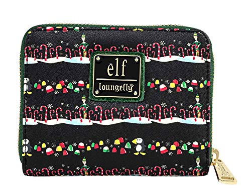 Loungefly x Elf Buddy Candy Cane Forest Allover Print Zip-Around Wallet