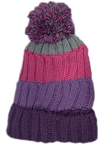 undercover lingerie Unisex Fur Lined Striped Chunky Knitted Bobble Hats Damson/Purple/Hot Pink/Grey