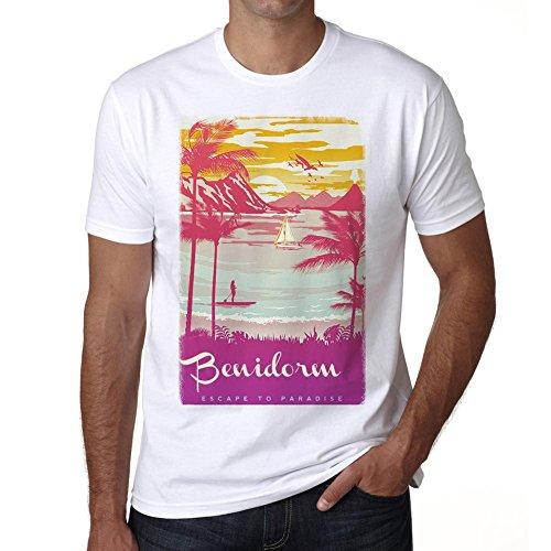 Benidorm, Escapar al paraíso, Camiseta para Las Hombres, Manga Corta, Cuello Redondo, Blanco