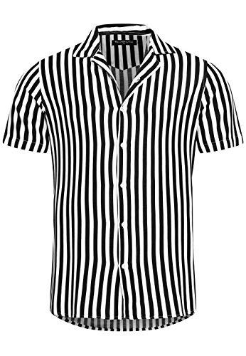 Redbridge Herren Hemd Freizeithemd Kurzarm Gestreift Regular Fit (XL, Schwarz)