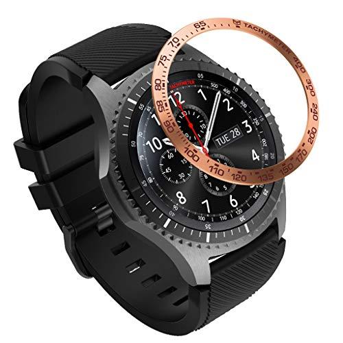Eariy Uhr Displayschutzfolie, Edelstahl uhrenring Kompatibel mit für Samsung Gear S5 Frontier Ring,kratzschutz Anti-Bubble kleberabdeckung,Uhrenzubehör