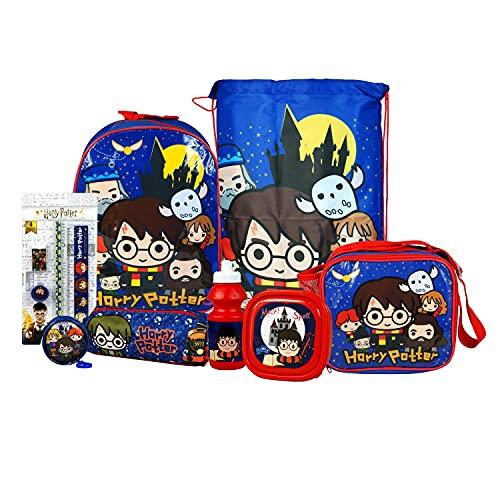Harry-Potter-Set für die Schule, mit Rucksack, Sporttasche mit Kordelzug, isolierter Lunchtasche, Sandwichbox, Wasserflasche, Münzfach, Federmäppchen und Schreibwaren-Set, 8-teilig