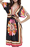 UMIPUBO Vestido de Playa Mujer Suelto Pareos Playa V-Cuello Camisolas y Pareos Bikini Traje de Baño Cover up Tunica Talla Grande